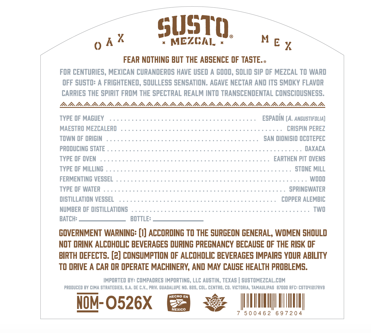 SUSTO rear label